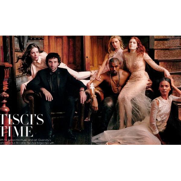 Riccardo Tisci and Kanye West in <em>Vogue</em>'s March issue.
