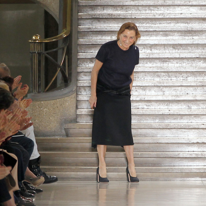 Miuccia Prada takes a bow following the Fall 2011 show.