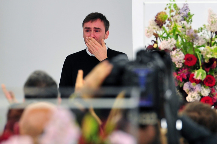 Raf Simons took a tearful bow at his last Jil Sander show on Saturday.