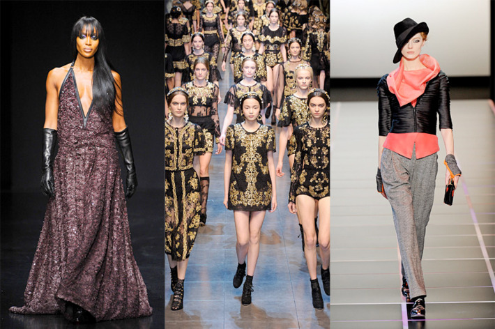 From left: looks from Robert Cavalli, Dolce & Gabbana, and Giorgio Armani
