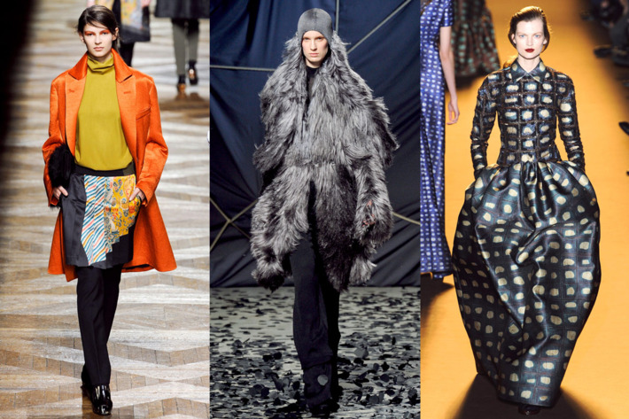 Fall looks from Dries Van Noten, Gareth Pugh, and Rochas.
