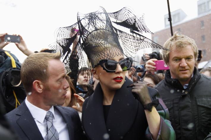 Lady Gaga arriving at Harvard yesterday.
