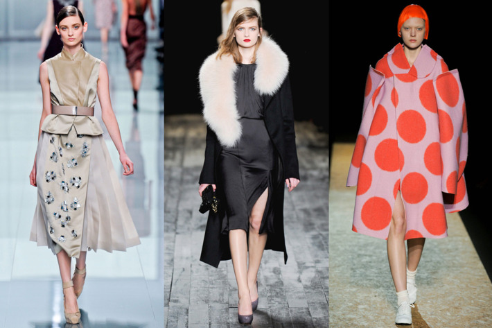 From left: looks from Dior, Nina Ricci, and Comme des Garçons.