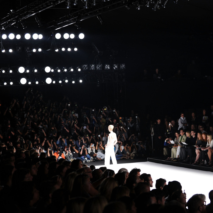 A general view of atmosphere at the Narciso Rodriguez Spring 2012 fashion show during Mercedes-Benz Fashion Week at The Theater at Lincoln Center on September 13, 2011 in New York City.