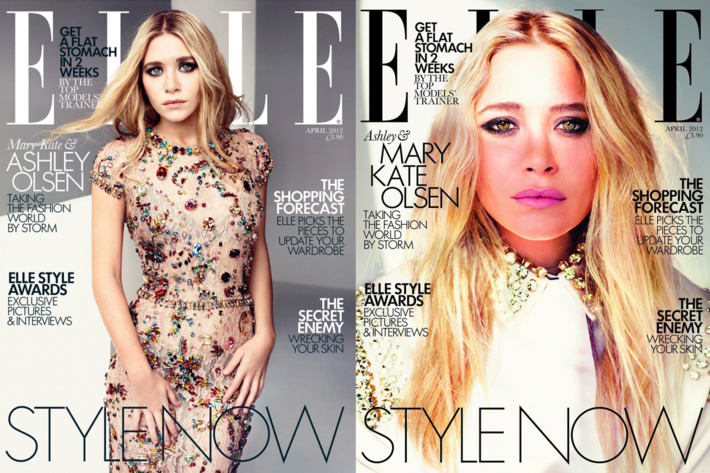 Ashley & Mary Kate's <em>Elle</em> UK covers, respectively.