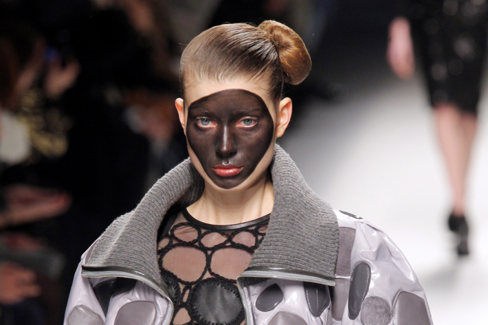 A model walks in the Lie Sang Bong fall 2012 show in Paris yesterday.