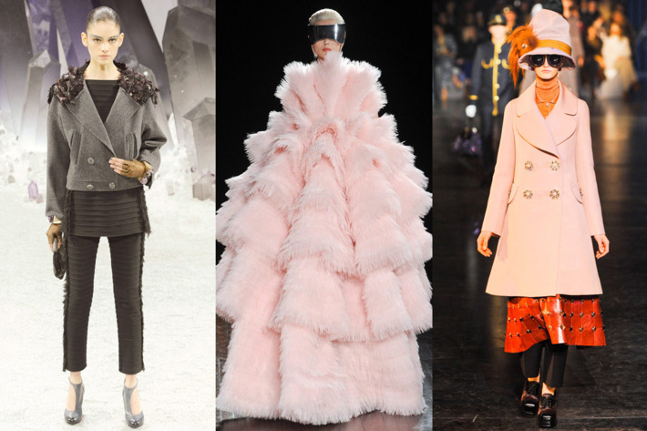 From left: looks from Chanel, Alexander McQueen, and Louis Vuitton.