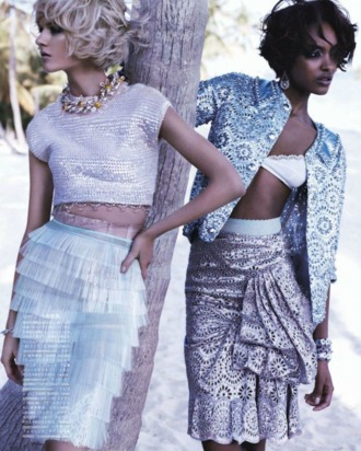 Jourdan Dunn and Daria Strokous for <em>Vogue Japan</em>.