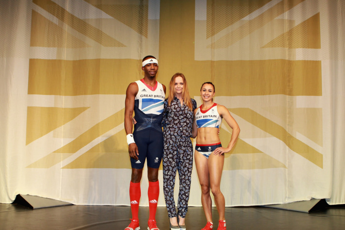 Stella McCartney with British Olympic athletes Jessica Ennis and Phillips Idowu.