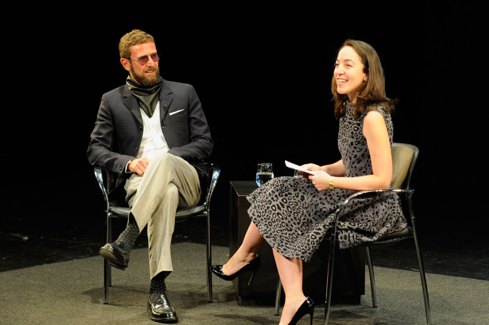 Stefano Pilati with Pamela Golbin at the FIAF 2012 Fashion Talks Series