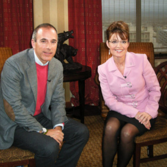 TODAY -- Pictured: (l-r) Matt Lauer, Sarah Palin -- Matt Lauer interviews Alaskan Governor Sarah Palin in her first network interview since the Presidential Election -- NBC News Photo