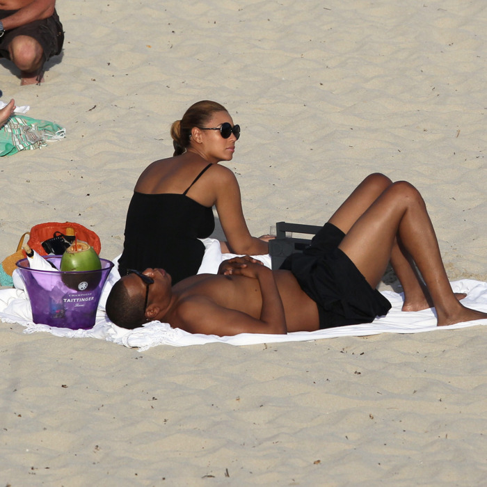 Bey and Jay, on the beach.