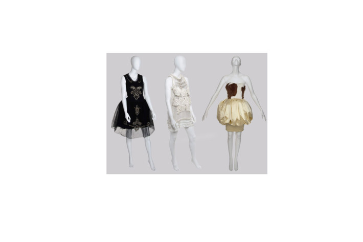 Some of the dresses up for auction: Lanvin, Christopher Kane, and Christian Lacroix.