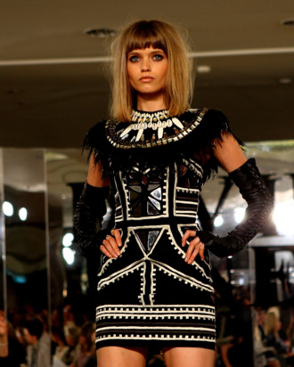 SYDNEY, AUSTRALIA - AUGUST 03: Model Abbey-Lee Kershaw showcases designs by Sass & Bide on the catwalk at the David Jones Spring/Summer 2010 Season Launch at David Jones Elizabeth Street Store on August 3, 2010 in Sydney, Australia. (Photo by Graham Denholm/Getty Images) *** Local Caption *** Abbey Lee Kershaw