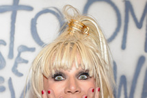 LAS VEGAS, NV - FEBRUARY 14: Fashion designer Betsey Johnson appears at the MAGIC clothing industry convention at the Las Vegas Convention Center as she promotes her Fall 2012 line on February 14, 2012 in Las Vegas, Nevada. (Photo by Ethan Miller/Getty Images)