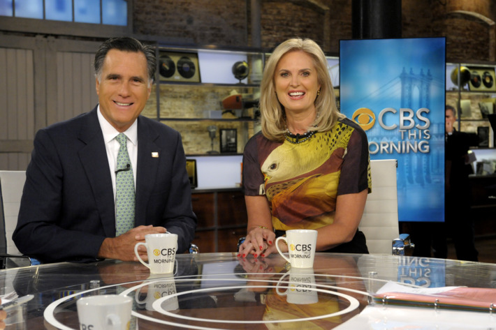 NEW YORK - MAY 1: Republican presidential candidate Mitt Romney and his wife, Ann, appear on CBS THIS MORNING, Tuesday, May 1 on the CBS Television Network. (Photo by Jeff Neira/CBS via Getty Images) *** Local Caption *** Mitt Romney;Ann Romney