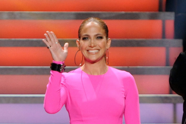 """HOLLYWOOD, CA - MARCH 22: Judge Jennifer Lopez onstage at FOX's """"American Idol"""" Season 11 Top 10 To 9 Live Elimination Show on March 22, 2012 in Hollywood, California. (Photo by FOX via Getty Images)"""