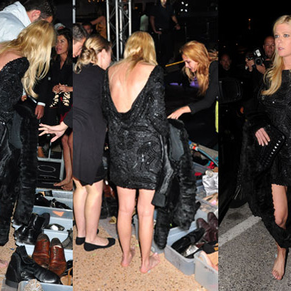 Tara Reid's shoe expedition.