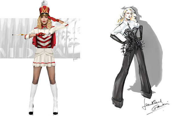 Renderings of two of Madonna's tour costumes, courtesy of WWD.