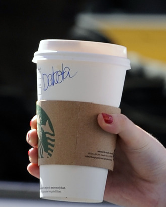 Dakota Fanning, just like ordinary folks, seen with her name written on a Starbucks while grabbing coffee in New York City.<P>Pictured: Dakota Fanning's cup<P><B>Ref: SPL379534 050412 </B><BR/>Picture by: Splash News<BR/></P><P><B>Splash News and Pictures</B><BR/>Los Angeles:	310-821-2666<BR/>New York:	212-619-2666<BR/>London:	870-934-2666<BR/>photodesk@splashnews.com<BR/></P>