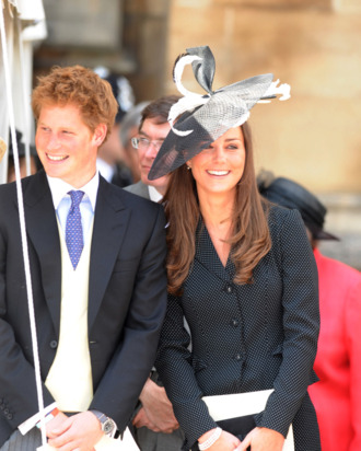 WINDSOR, ENGLAND - JUNE 16: (NO PUBLICATION IN UK MEDIA FOR 28 DAYS) Prince Harry and Prince William's girlfriend Kate Middleton laugh together as they watch the Order of the Garter procession at Windsor Castle on June 16, 2008 in Windsor, England. (Photo by POOL/ Tim Graham Picture Library/Getty Images) *** Local Caption *** Prince Harry;Kate Middleton