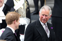 Prince Charles, Prince of Wales and Prince Harry arrive at the Service of Thanksgiving at St Paul's Cathedral, as part of the Diamond Jubilee, marking the 60th anniversary of the accession of Queen Elizabeth II on June 5, 2012 in London, England.
