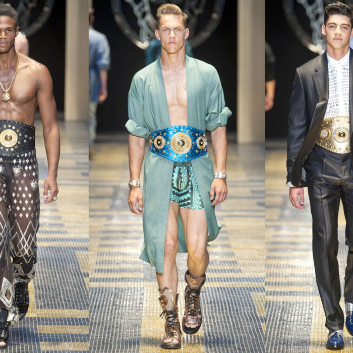 Three looks from Versace's spring 2013 menswear show.
