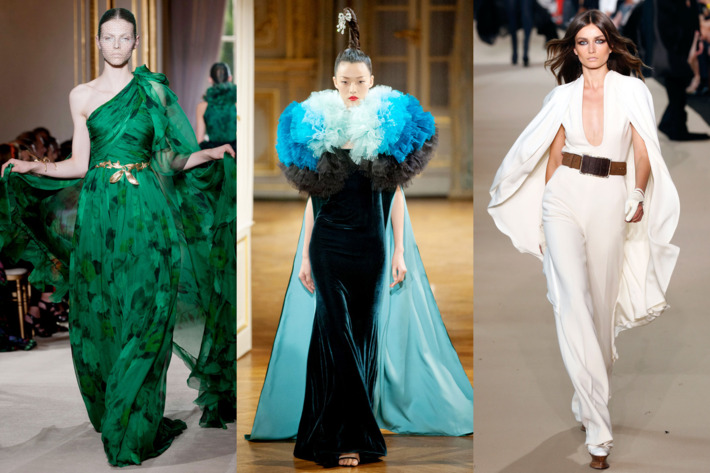 From left: cape dresses at Giambattista Valli, Alexis Mabille, and Stephane Rolland.