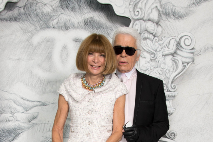 Anna Wintour and Karl Lagerfeld attend the Chanel Haute-Couture Show as part of Paris Fashion Week Fall / Winter 2012/13 at Grand Palais on July 3, 2012 in Paris, France.