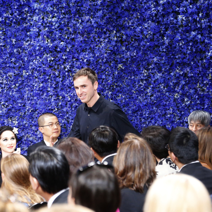 Raf takes his bow at the conclusion of Dior yesterday.