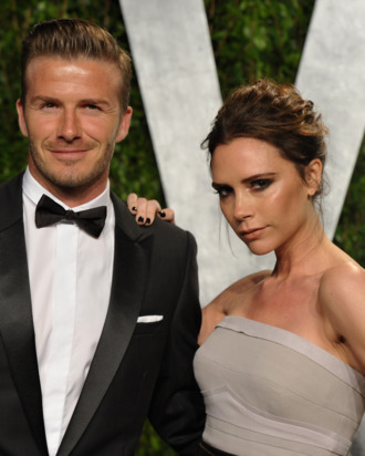Athlete David Beckham and fashion designer Victoria Beckham arrive at the 2012 Vanity Fair Oscar Party hosted by Graydon Carter at Sunset Tower on February 26, 2012 in West Hollywood, California.