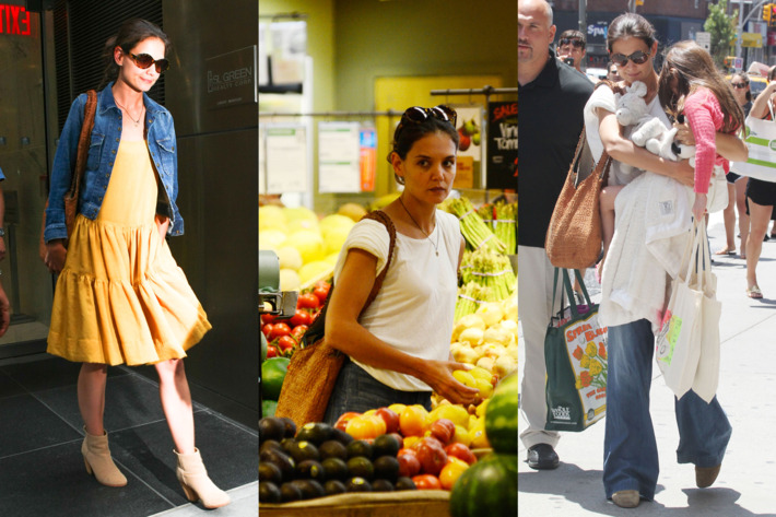 Katie Holmes at her lawyer's office and at Whole Foods.