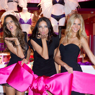 SAlessandra Ambrosio, Adriana Lima and Erin Heatherton attend the ribbon cutting at the Victoria's Secret store opening at Plaza Las Americas on November 16, 2011 in San Juan, Puerto Rico.