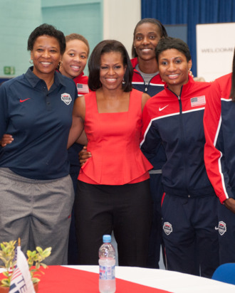 First Lady Michelle Obama meets members of the 2012 Team USA at the University of East London on July 27, 2012 in London, England. Michelle Obama addressed members of the 2012 Team USA as leader of the US Olympics delegation, ahead of opening ceremony for the Olympics.