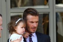 David Beckham and Harper Beckham seen at 202 Restaurant in Notting Hill on July 26, 2012 in London, England.