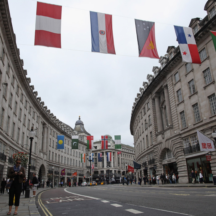 London's Regent Street looking much quieter than usual.