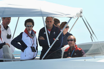 Princess Anne and Sir Timothe Laurence (L) attend Women's Laser Radials race on Day 10 of the London 2012 Olympic Games at the Weymouth & Portland Venue at Weymouth Harbour on August 6, 2012 in Weymouth, England.