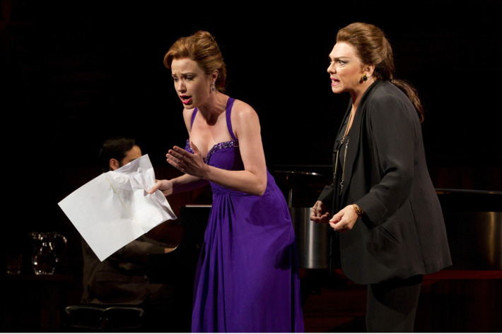 MASTER CLASS         Written by Terrence McNally, Directed by Stephen Wadsworth         The Manhattan Theatre new Broadway production         at MTC's Samuel J. Friedman Theatre (261 West 47th Street).         Pictured (L to R): Sierra Boggess as 'Sharon Graham' and Tyne Daly as 'Maria Callas.'         ? 2011, Joan Marcus.