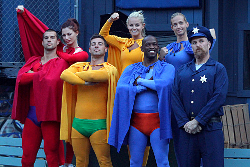 """Up Up and Away"" -- The Houseguests for the CBS series Big Brother 13 (L-R) Brendan, Rachel, Jeff, Jordan, Keith, Porsche, and Adam participate in the ""Up Up and Away"" superhero-themed veto competition. Big Brother currently broadcasts three nights weekly, on Sundays (8:00-9:00 PM, ET/PT), Wednesdays (8:00-9:00 PM, ET/PT) and the LIVE eviction show, hosted by Julie Chen, Thursdays (9:00–10:00 PM, live ET/delayed PT) on the CBS Television Network.           Photo: Bill Inoshita/CBS         ? CBS Broadcasting, Inc. All Rights Reserved."