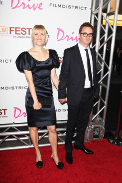 """LOS ANGELES, CA - JUNE 17:  Liv Corfixen and director Nicolas Winding Refn arrive at the  """"Drive"""" Gala Premiere during the 2011 Los Angeles Film Festival at Regal Cinemas L.A. Live on June 17, 2011 in Los Angeles, California.  (Photo by Chelsea Lauren/WireImage)"""