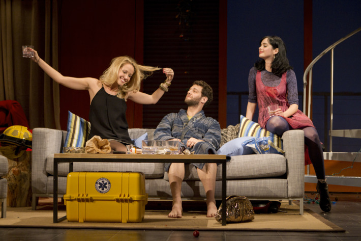 All New People Second Stage Theatre  Cast List: David Wilson Barnes  Justin Bartha  Anna Camp  Krysten Ritter Production Credits: Directed by Peter DuBois Other Credits: Written by: Zach Braff