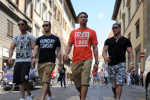 """Florence, Italy - MAY 22: The Cast of the MTV series Jersey Shore appear during the taping of """"Jersey Shore - Season Four"""" on May 22, 2011, in Florence,Italy. (Photo by Jeff Daly/MTV/PictureGroup)"""