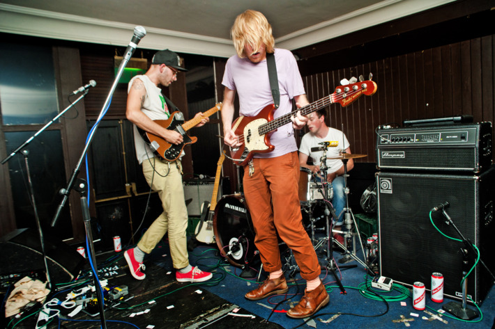 SHEFFIELD, UNITED KINGDOM - JULY 23: (L-R) John Arthur Webb, Kevin Hendrick and Robin Silas Christian of Male Bonding perform at The Henley during the first day of Tramlines Festival on July 23, 2010 in Sheffield, England. (Photo by Ollie Millington/Redferns) *** Local Caption *** John Arthur Webb;Kevin Hendrick;Robin Silas Christian