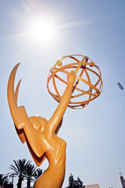 LOS ANGELES, CA - SEPTEMBER 16:  A detail of the Emmy Award statue during the arrivals at the 59th Annual Primetime Emmy Awards at the Shrine Auditorium on September 16, 2007 in Los Angeles, California.  (Photo by Frazer Harrison/Getty Images)