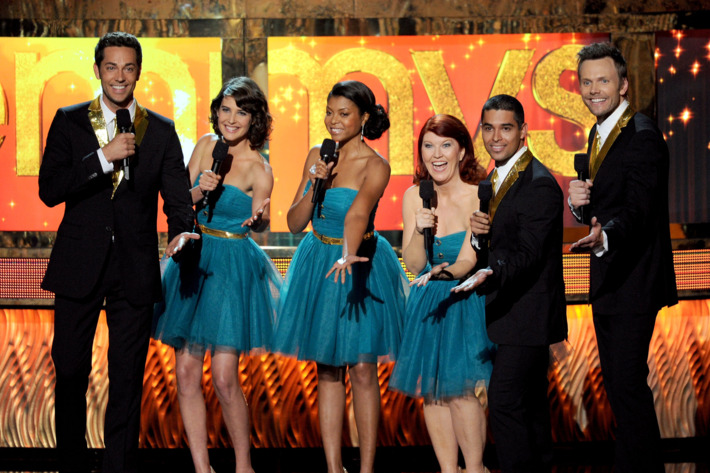 LOS ANGELES, CA - SEPTEMBER 18:  (L-R) Actors Zachary Levi Cobie Smulders, Taraji P. Henson, Kate Flannery, Wilmer Valderrama, and Joel McHale speak onstage during the 63rd Annual Primetime Emmy Awards held at Nokia Theatre L.A. LIVE on September 18, 2011 in Los Angeles, California.  (Photo by Kevin Winter/Getty Images)