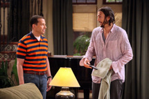 """Nice To Meet You, Walden Schmidt"" -- Alan Harper (Jon Cryer) and Walden Schmidt (Ashton Kutcher) star on TWO AND A HALF MEN, Mondays (9:00-9:31 PM, ET/PT) on CBS.         Photo: Danny Feld/CBS/Warner Bros.         ?2011 Warner Bros. Television. All Rights Reserved."