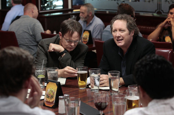 "THE OFFICE -- ""The List"" Episode 802 -- Pictured: (l-r) Rainn Wilson as Dwight Schrute, James Spader as Robert California -- Photo by: Chris Haston/NBC"