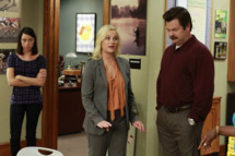 "PARKS AND RECREATION -- ""I'm Leslie Knope"" Episode 401 -- Pictured: (l-r) Aubrey Plaza as April Ludgate, Amy Poehler as Leslie Knope, Nick Offerman as Ron Swanson -- Photo by: Ron Tom/NBC"