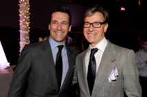 """LOS ANGELES, CA - APRIL 28:  Actor Jon Hamm (L) and director/executive producer Paul Feig pose at the after party for the premiere of Universal Pictures' """"Bridesmaids"""" at the Hammer Museum on April 28, 2011 in Los Angeles, California.  (Photo by Kevin Winter/Getty Images) *** Local Caption *** Jon Hamm;Paul Feig;"""