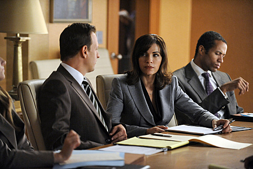 """""""Get A Room""""--Will (Josh Charles, left) and Alicia (Julianna Margulies, center) go toe-to-toe with Will's ex during a marathon court-ordered mediation, on THE GOOD WIFE, Sunday, Oct. 9 (9:00-10:00 PM ET/PT) on the CBS Television Network.Photo: Jeffrey Neira/CBS ?2011 CBS Broadcasting Inc. All Rights Reserved."""